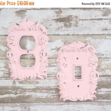 NEW YEARS SALE Pink / Light Outlet Cover / Outlet Cover Plate / Shabby Chic / Decorative Outlet Switch Plate Cover / Your Choice Color