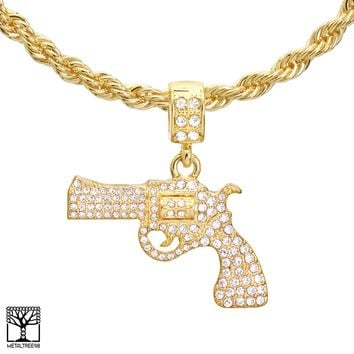 """Jewelry Kay style Men's 14K Gold Plated Stone Iced Gun Pendant 22"""" / 24"""" Chain Necklace HC 1165 G"""