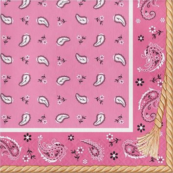 Cowgirl birthday party napkins, Pink bandana beverage napkins l, Wild West, dinnerware