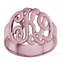 """Designer Personalized Initials Ring 0.8"""" Sterling Silver w/ Rose Gold"""