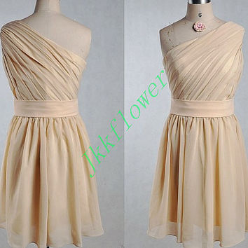 Champagne Short One Shoulder Bridesmadi Dresses,A Line Chiffon Custom Made Partt Dresses,Formal PartY Grown