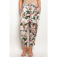 Botanical Escape Tapered Trousers, Plus