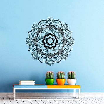 Wall Decal Vinyl Sticker Decals Art Home Decor Mural Mandala Ornament Indian Geometric Moroccan Pattern Yoga Namaste Lotus Flower Om AN562