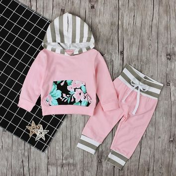 Spring Autumn Children's Clothing Set Baby Girls Pink Sweater Hoodie Roses Pocket Cotton Striped Hat Overalls For Newborn Grils