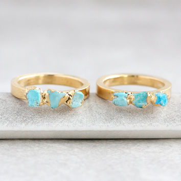 turquoise ring / stackable ring / raw turquoise / stacking ring / turquoise nugget / mineral ring / teal stone ring /dainty ring /raw stone