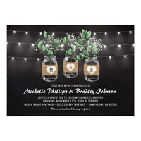 Rustic Babys Breath Lights Mason Jar Wedding Card