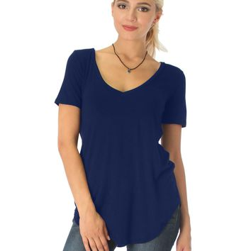 Lyss Loo Truly Madly Deep-V Neck Navy Tunic Top