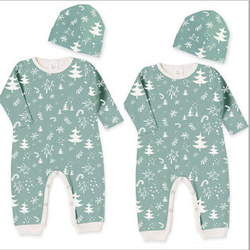 Christmas Baby Girl Boy Clothes Set Snowflake Romper Pants Hat 2pcs Cotton Outfits Set Clothing Baby Boys