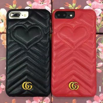 GUCCI love Heart leather iPhone Phone Cover Case For iphone 6 6s 6plus 6s-plus 7 7plus