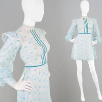 Vintage 60s Mini Dress Dollybird Dress Pastel Blue Mint Dress XS Mini Dress X Small Dress Balloon Sleeves Frilly Dress Romantic Dress 1960s