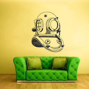 rvz1655 Wall Decal Bedroom Sticker Decals Diving Helmet Sea Ocean Deep