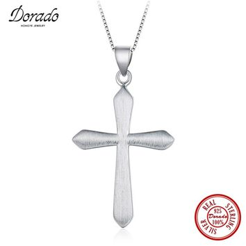 Dorado 2017 Trendy Men Jewelry 100% 925 Sterling Silver Cross Pendant Necklace Silver Box Chain Top Quality