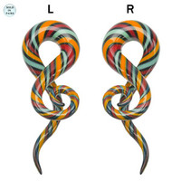 Ear taper Glass spiral twisted