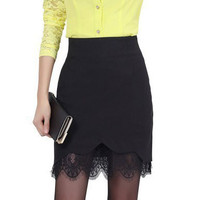 Scallop Eyelash Floral Lace Pencil Skirt