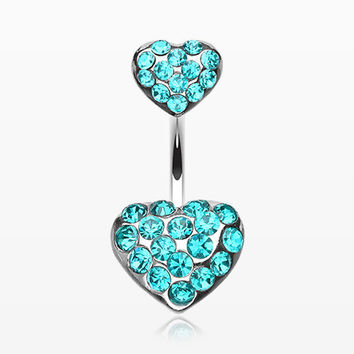 Brilliant Double Hearts Belly Ring