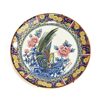 Pheasant China Plate Wall Hanging Art - Cobalt, Coral & Gold Tones, Oriental Style Bird on Flowers - Vintage Home Kitchen Decor