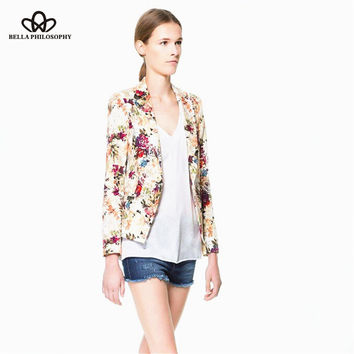 2015 new spring flower floral print jacquard Slim single button blazer suit jacket from work to causal