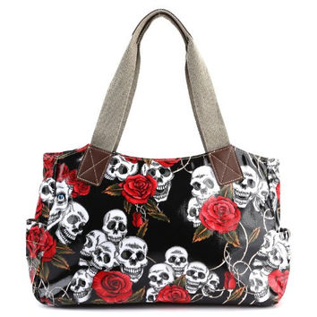Cartoon Skull and Roses Oilcloth Shoulder Bag Canvas Strap Women Handbag