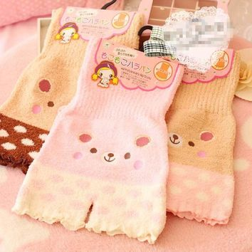 Princess sweet lolita underwear Japanese  Soft teddy bear cat warm double thickening high waist underwear  NK05