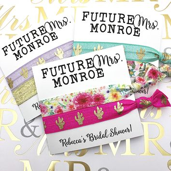 Future Mrs. Custom Bridal Shower Favors l Bachelorette Party Favor| Hair Tie Favors