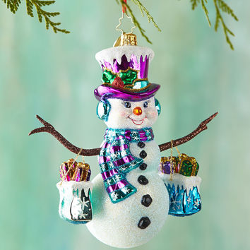 Frosty Shopper Christmas Ornament - Christopher Radko