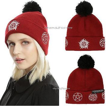 Licensed cool Supernatural Anti-Possession Rune Symbol RED Pom Fold Over Beanie Hat Cap NEW