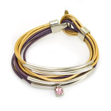 Purple and Gold Leather Wrap Bracelet With Silver Tube Beads And Clasp-Add Charms!