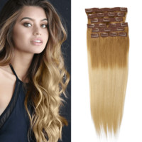 """20"""" 10 Pieces Ombre Blonde #1860 Clip In Virgin Human Hair Set Extension"""