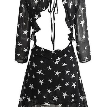 Backless Chiffon Star Print Mini Dress