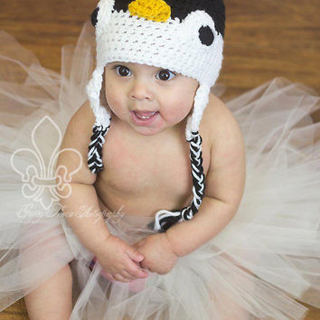 Crocheted Penguin Beanie / Hat - Newborn, Baby, Toddler, Children