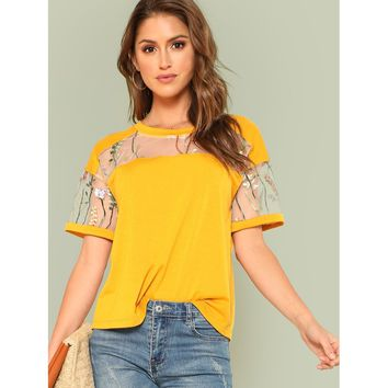 Yellow Embroidered Mesh Yoke Top