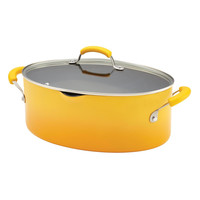 Rachael Ray Porcelain Enamel II Nonstick 8-Quart Covered Oval Pasta Pot with Pour Spout