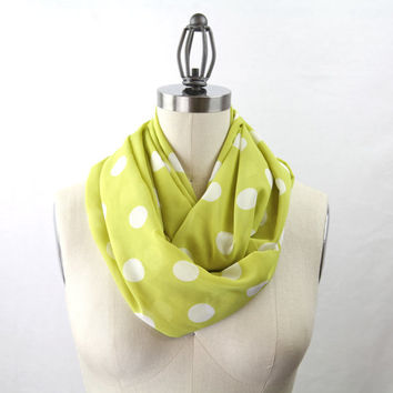 chartreuse infinity polka dot scarf, yellow and white silk blend, large polka dots