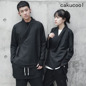Trendy Cakucool New Kimono Jackets Normcore Gothic Outerwear Japanese Lace Up Coats Jaqueta Feminina Tops Clothes Black Plus size AT_94_13