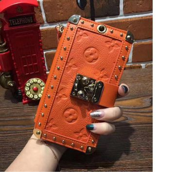 LV iPhone7 holster Messenger iphone mobile shell 6plus luxury case hanging collar holding card package card Orange