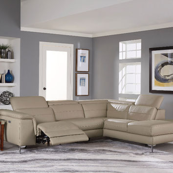 Home Elegance HE-8256 2 pc Cinque taupe top grain leather sectional sofa with power reclining foot rest and chaise