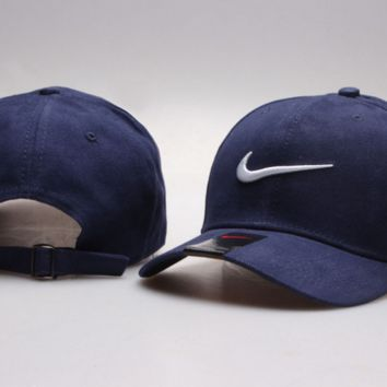 Navy Blue Nike Hook Print Baseball Cotton Cap Hat