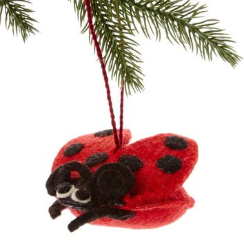 Ladybug Felt Holiday Ornament - Silk Road Bazaar (O)