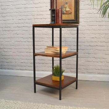 Square Wood and Metal 3 Tier Willard Bookshelf
