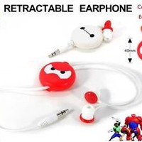 "Disney Big Hero 6 Baymax 3.5mm In-Ear Retractabe Wire Earphone Earbuds 30"" Long"