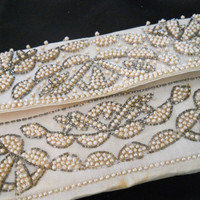 ON SALE Vintage 50s Beaded Clutch Purse - 1950s Evening Bag - As Is for Display or to Upcycle