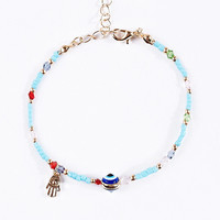 Evil Eye Beaded Bracelet in Turquoise - Urban Outfitters