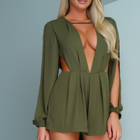 Kaliyah Open Shoulder Romper - Olive