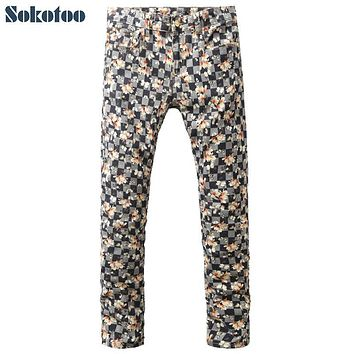 Sokotoo Men's fashion flower plaid print jeans Male slim stretch denim pants Long trousers