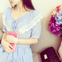 Lace Flounced Chiffon Waist Puff Temperament Dress