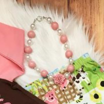 Pink and Pearl Chunky Necklace