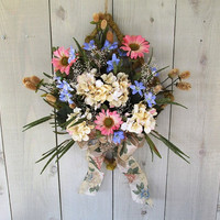 Spring Wreath / Summer Wreath / Floral Wreath On Grass Covered Diamond / Pink Blue Cream Wreath