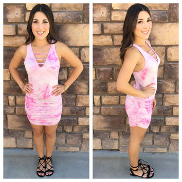 Crazy in Love Ruched Tunic Dress: Pink