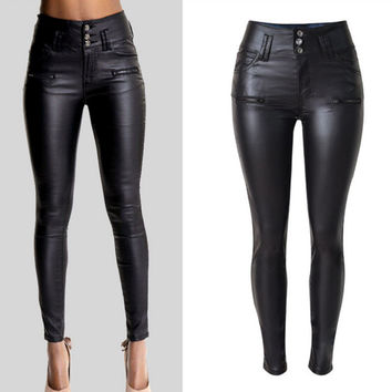 Black Buckle Waist PU Leather Pants