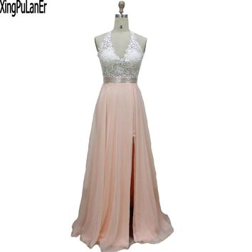 XingPuLanEr vestido de festa A Line Deep V Neck Sleeveless Lace Top Open Back Sexy Long Prom Dresses Party Evening Gown